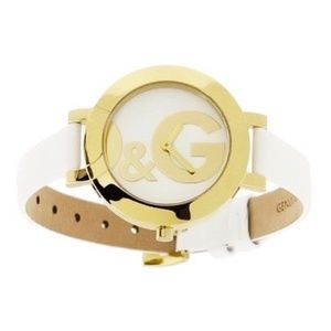 Dolce & Gabbana Gold D&G Logo White Leather Watch